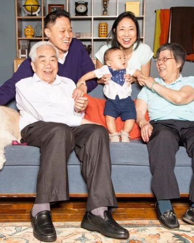 The Leung-Li Family: 3 generations of the Leung Li's. Family portrait session with the grandparents, parents, child and dog!