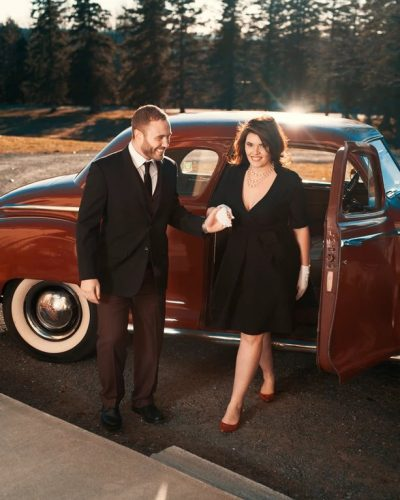 Chivalry: Fun holiday card shoot with the Priest Family. Shot on location at 'The Aldworth Manor' in NH, with a 50's inspired theme. Nate and Bethany arriving 'first lady style'