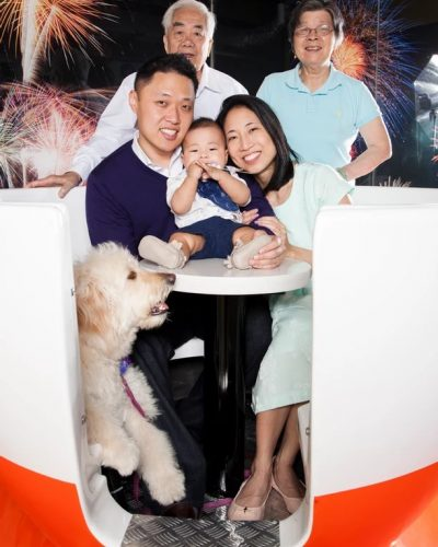 Family in a Tea Cup: 3 generations of the Leung Li's. Family portrait session with the grandparents, parents, child and dog!